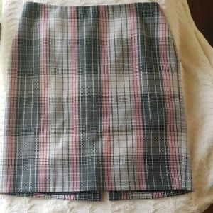 Talbots pink/ gray check pencil skirt excellent co